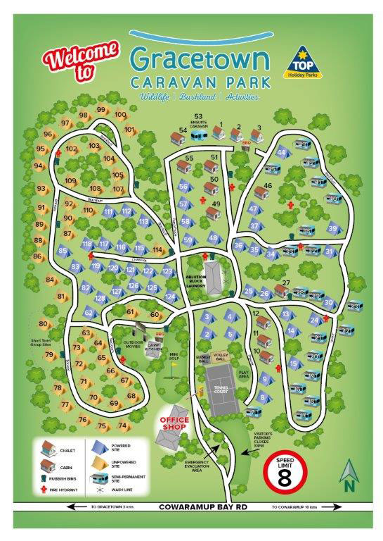 Gracetown Caravan Park camping site, cabins and amenities location map