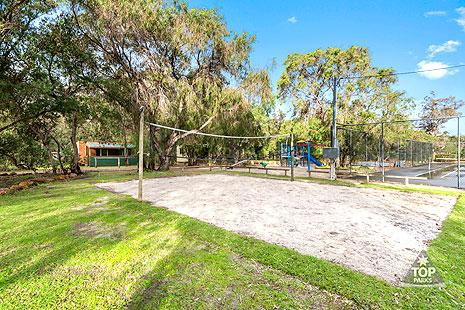 Beach volleyball court in caravan park near Cowaramup