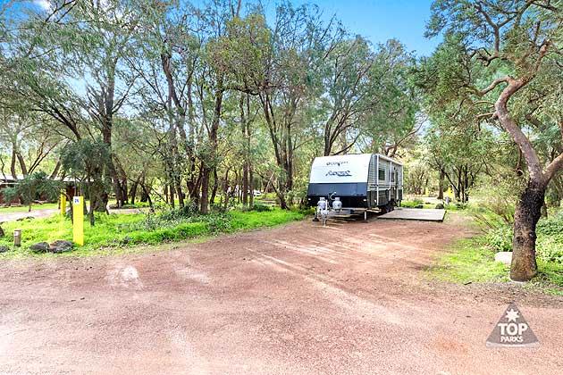 Spacious shady caravan sites in Margaret River caravan park